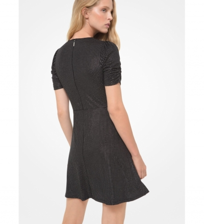 MICHAEL Michael Kors Metallic Polka Dot Matte Jersey Ruched-Sleeve Dress