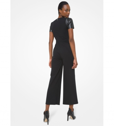 MICHAEL Michael Kors Faux Leather Trim Ponte Jumpsuit