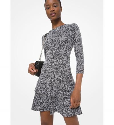 MICHAEL Michael Kors Tweed Jacquard Tiered Ruffle Dress
