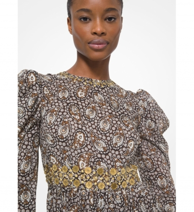 MICHAEL Michael Kors Embellished Paisley Cotton Lawn Puff-Sleeve Dress