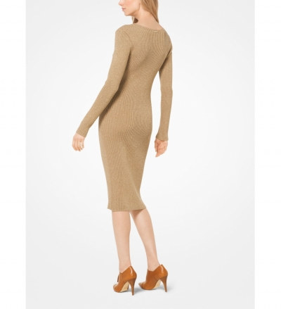 MICHAEL Michael Kors Metallic Ribbed Sweater Dress