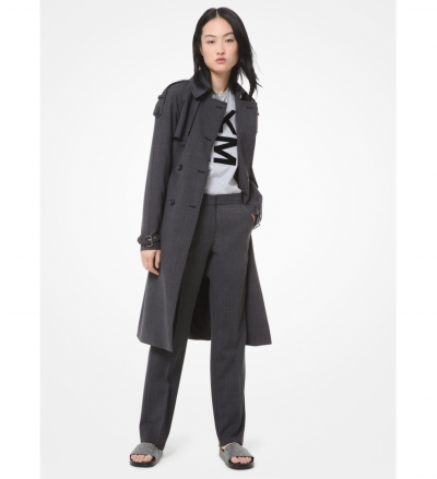 MICHAEL Michael Kors Glen Plaid Stretch-Wool Trench Coat