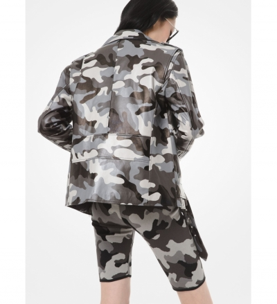 MICHAEL Michael Kors Camouflage-Print Leather Moto Jacket