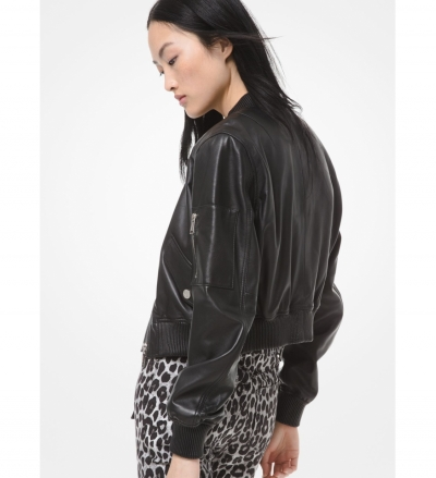 MICHAEL Michael Kors Leather Cropped Bomber Jacket