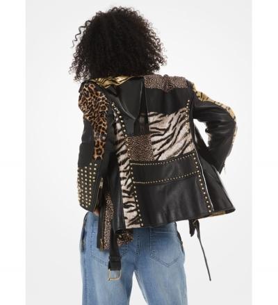 MICHAEL Michael Kors Animal-Print Patchwork Leather Moto Jacket
