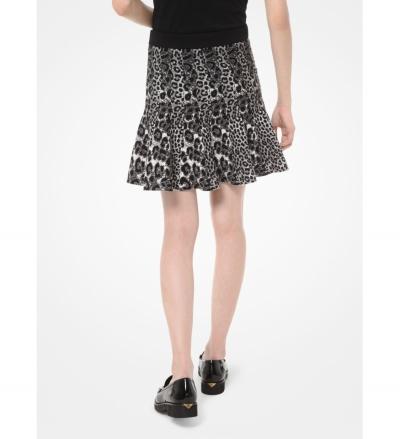 MICHAEL Michael Kors Mixed Leopard Jacquard Pleated Skirt