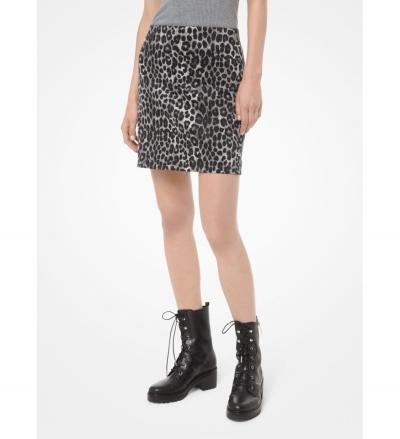 MICHAEL Michael Kors Leopard Scuba Skirt