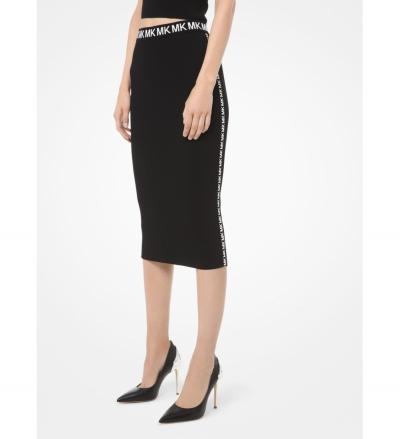 MICHAEL Michael Kors Logo-Trim Stretch-Viscose Pencil Skirt