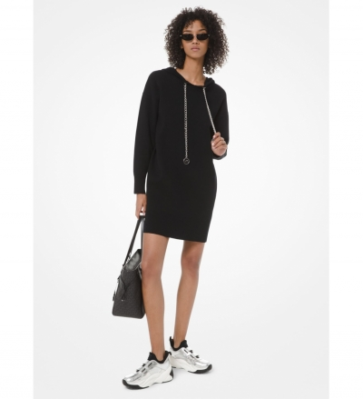 MICHAEL Michael Kors Logo Chain Stretch-Cotton Hoodie Dress