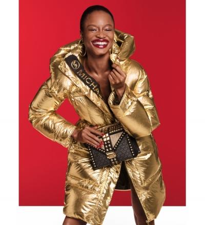 MICHAEL Michael Kors Metallic Quilted Nylon Puffer Coat