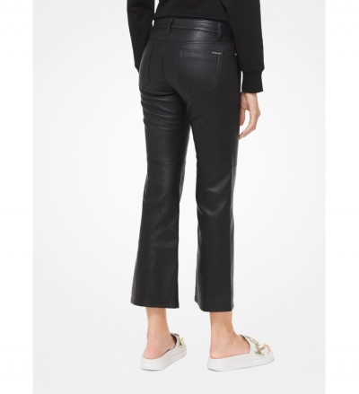 MICHAEL Michael Kors Izzy Leather Cropped Flared Pants