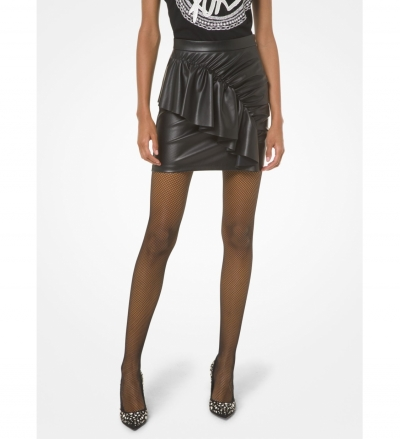 MICHAEL Michael Kors Faux Leather Ruched Skirt