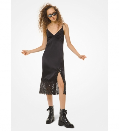 MICHAEL Michael Kors Sateen and Sequined Lace Slip Dress