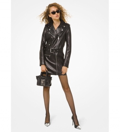 MICHAEL Michael Kors Leather Moto Dress