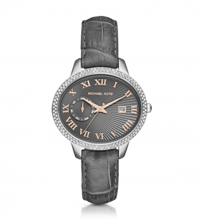 Michael Kors Whitley Silver-Tone And Leather Watch