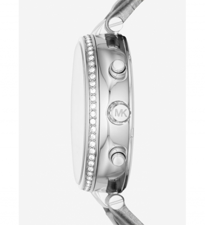 Michael Kors Sawyer Silver-Tone And Leather Watch