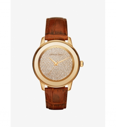 Michael Kors Kinley Pave Gold-Tone And Leather Watch