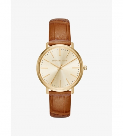 Michael Kors Jaryn Gold-Tone And Embossed-Leather Watch