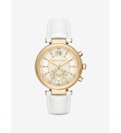 Michael Kors Sawyer Gold-Tone And Leather Watch