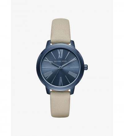 Michael Kors Hartman Navy-Tone And Leather Watch