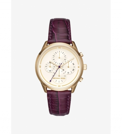 Michael Kors Slater Gold-Tone and Embossed-Leather Watch