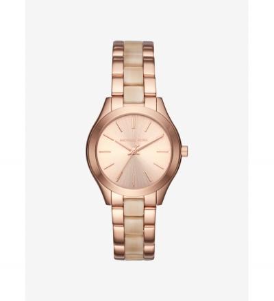Michael Kors Mini Slim Runway Rose Gold-Tone and Acetate Watch