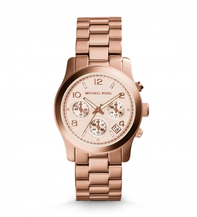 Michael Kors Rose Gold-Tone Stainless Steel Chronograph Runway Watch