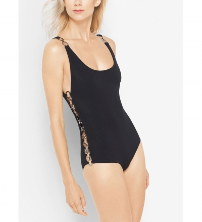 Michael Kors Collection Ring-Detailed Tank Swimsuit