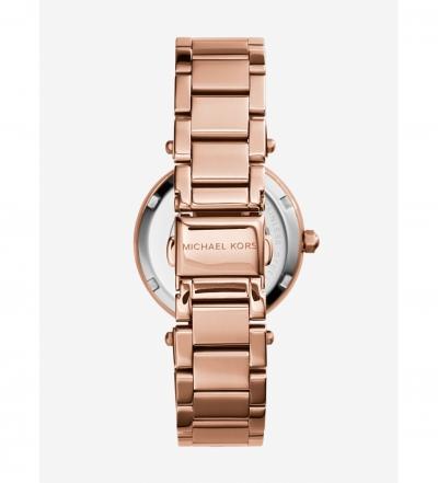 Michael Kors Mini Parker Pavé-Embellished Rose Gold-Tone Watch