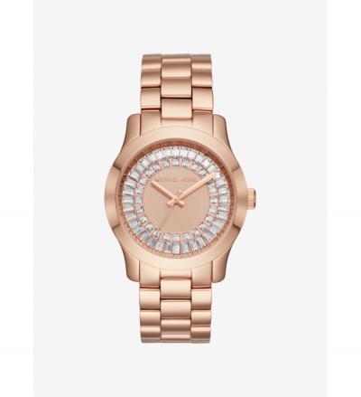 Michael Kors Runway Baguette Rose Gold-Tone Watch