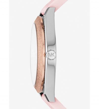 Michael Kors Channing Snake-Embossed Silicone and Rose Gold-Tone Watch