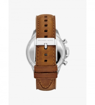 Michael Kors Gage Silver-Tone Leather Watch