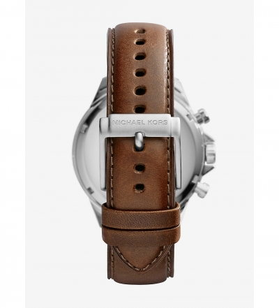 Michael Kors Gage Leather-Strap Silver-Tone Stainless Steel Watch