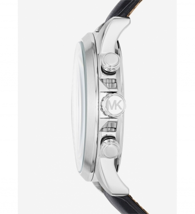 Michael Kors Gage Silver-Tone And Leather Watch