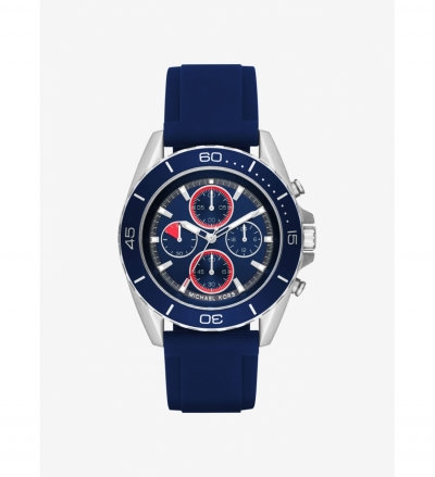 Michael Kors JetMaster Silver-Tone And Silicone Watch