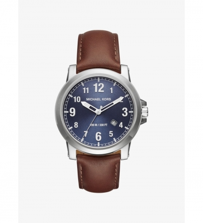 Michael Kors Paxton Silver-Tone And Leather Watch