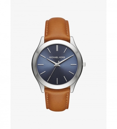 Michael Kors Slim Runway Silver-Tone And Leather Watch