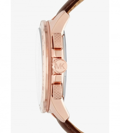 Michael Kors Ryker Rose Gold-Tone And Leather Watch