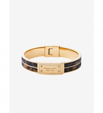 Michael Kors Tortoise Acetate And Gold-Tone Plaque Bracelet