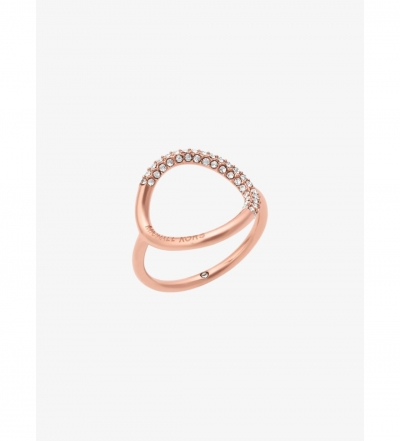 Michael Kors Rose Gold-Tone Pave Ring