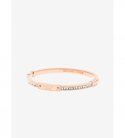 Michael Kors Rose Gold-Tone Baguette Hinge Logo Bracelet