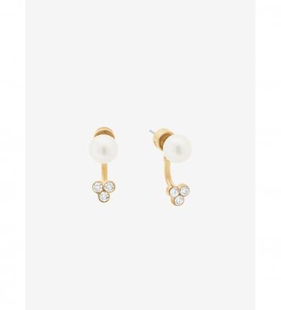 Michael Kors Gold-Tone Crystal/Glass Pearl Earrings