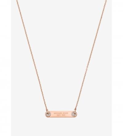 Michael Kors Pavé Rose Gold-Tone Logo Plaque Necklace