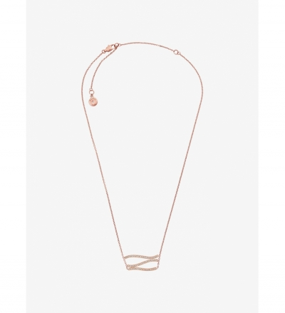 Michael Kors Pavé Rose Gold-Tone Wave Pendant Necklace