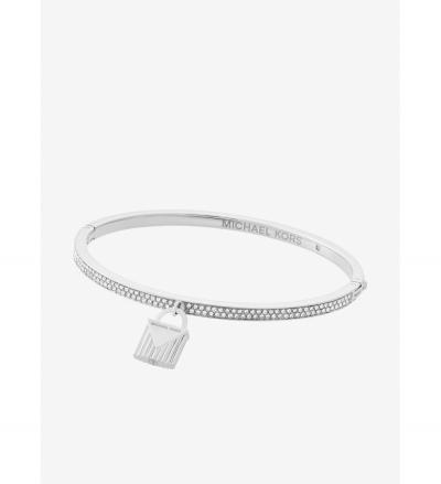 Michael Kors Pavé Silver-Tone Lock Charm Bangle