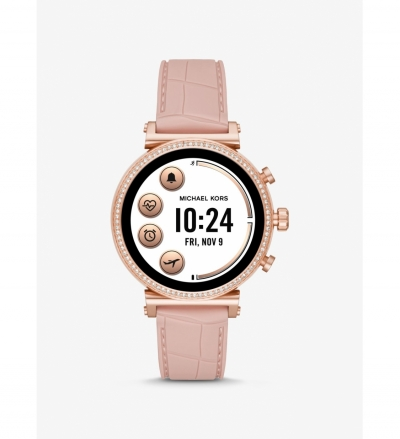 Michael Kors Access Gen 4 Sofie Rose Gold-Tone and Embossed Silicone Smartwatch