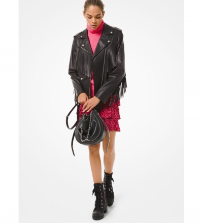MICHAEL Michael Kors Fringed Leather Moto Jacket