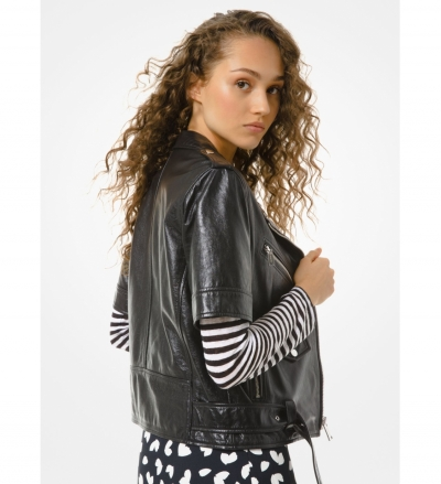 MICHAEL Michael Kors Leather Short-Sleeve Moto Jacket