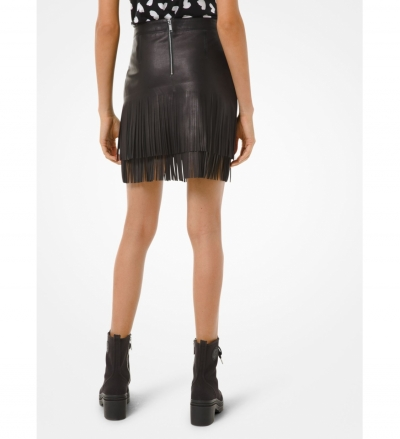 MICHAEL Michael Kors Fringed Leather Skirt