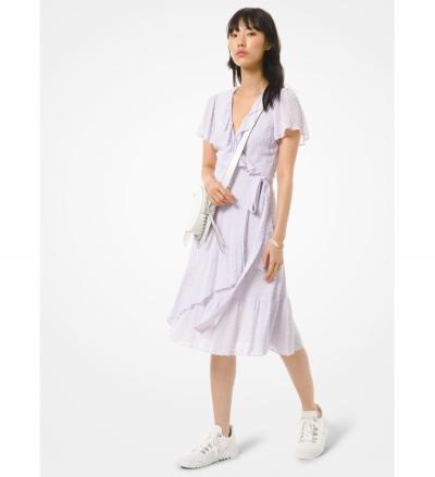 MICHAEL Michael Kors Dot Jacquard Ruffled Wrap Dress